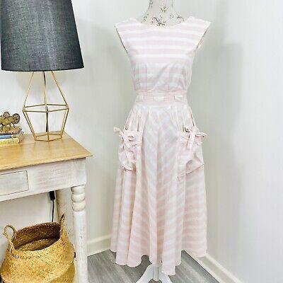 80s Dresses | Casual to Party Dresses Vintage 80s Womens Midi Sun Dress Cotton Stripe Pink White Fit & Flare Size 8 $58.52 AT vintagedancer.com