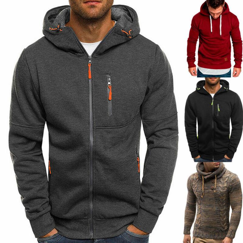 Men's Fleece Hoodie Zip Up Coat Jacket Hooded Sweatshirt Jum