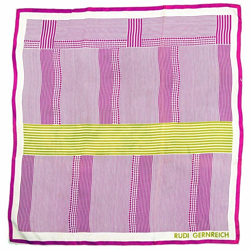 RARE Vintage 1970s RUDI GERNREICH Mod Abstract Stripe Dot Large Silk Scarf