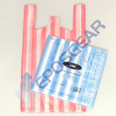 200 Blue Red Large Cheap Candy Stripe Vest Style Shopping Plastic Carrier Bags