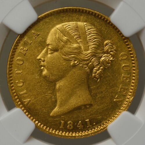 BRITISH INDIA VICTORIA GOLD MOHUR 1841.(C) MS60 NGC