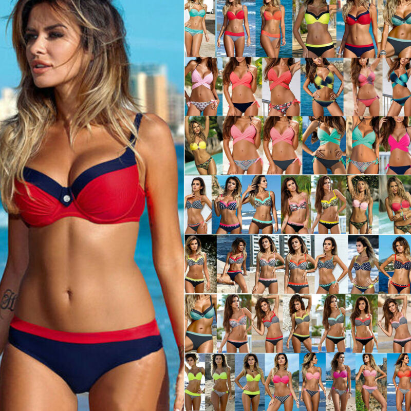 Damen Gepolstert Bikini Set Push Up BH Bandage Bademode Badeanzug Schwimmanzug