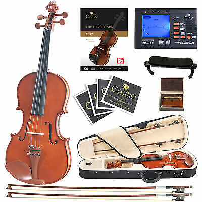 Cecilio CVN-200 Solid Wood Violin with Tuner, Lesson Book/Online Video, Size 4/4