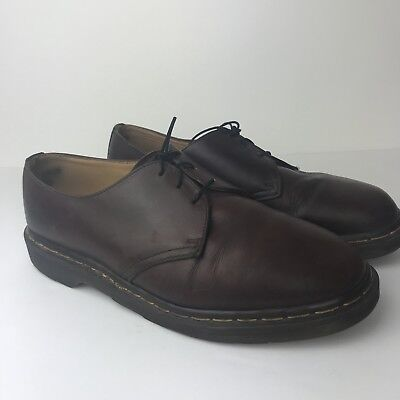 DR DOC MARTEN Vtg Brown Leather 3 Eye Lace Up Oxford Low England Shoes Boots 11 3 Eye Shoes Boots