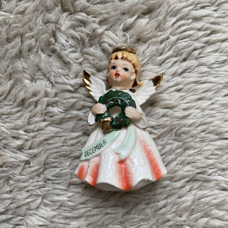 Vintage 50s December Angel Figurine With Wreath Marked Japan Christmas Xmas