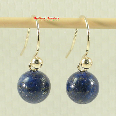 Dangle Stud Earrings Blue Lapis Lazuli 14k Yellow Gold Fish Hook Gold Ball TPJ
