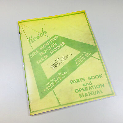 Kosch M19b Side Mounted Tractor Mower Operators Manual Parts Book Farmall H M Md