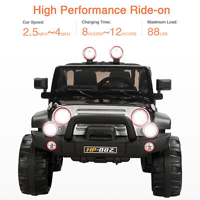 12V Kids Ride On Cars Electric Remote Control 4 Speed MP3 Radio& LED Light Black