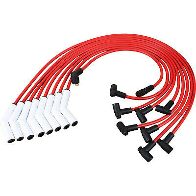 White Ceramic Spark Plug Wire Set For Chevy Small Block Big Block SBC BBC 9018C -