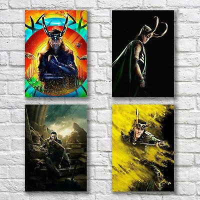 Tom Hiddleston Loki Poster A4 NEW Set Thor Ragnarok Avengers Home Wall Decor
