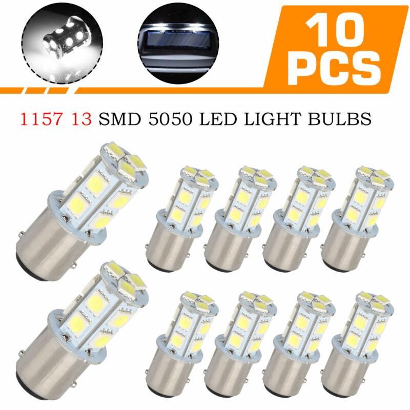 10PCS White 1157 5050-13-SMD LED Tail Brake Stop Parking Turn Signal Light Bulbs
