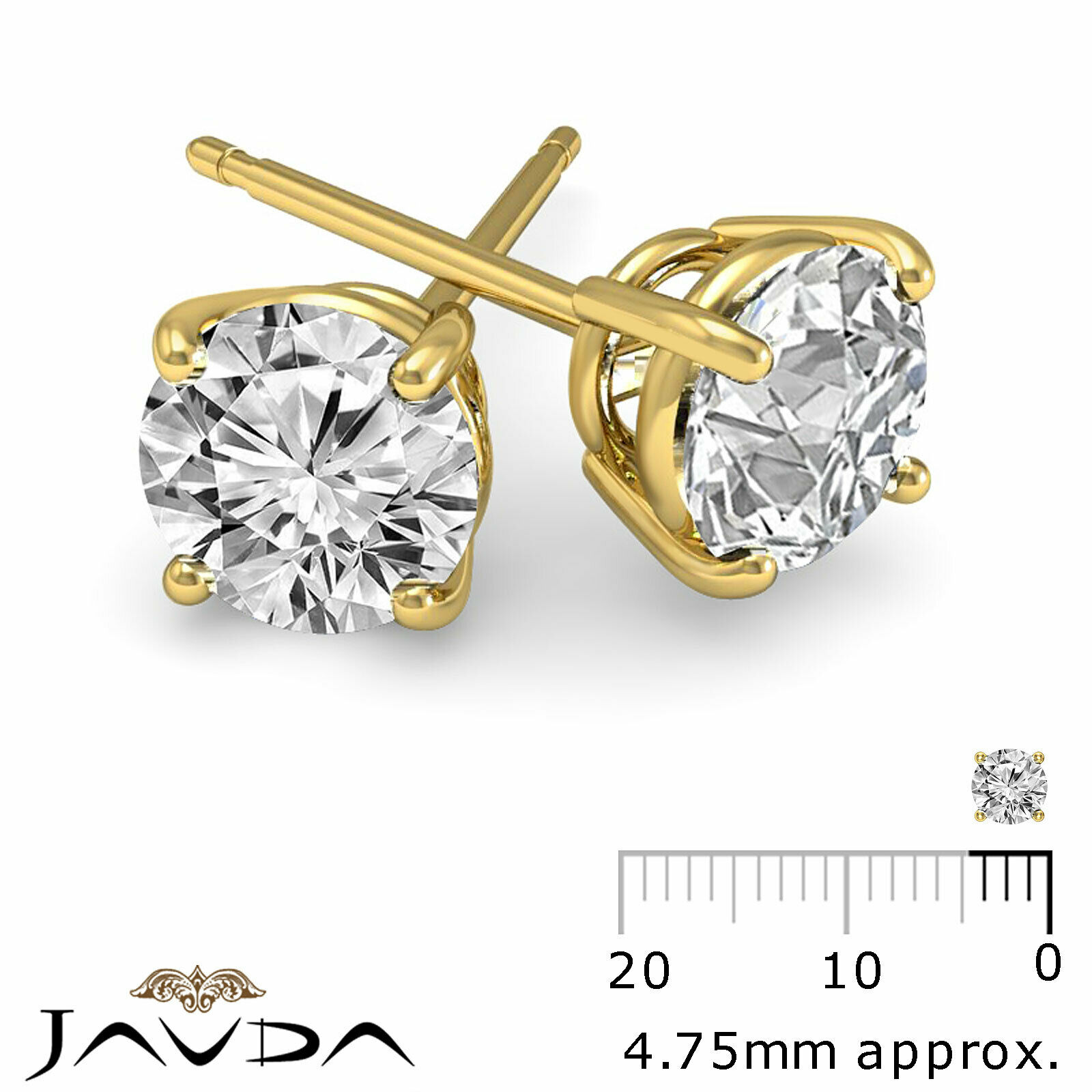 4 Prong Double Wire Round Cut Diamond 1 Pair Stud Women's Earrings 1/2 ctw. 1