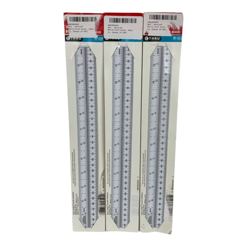 3 vintage C-Thru Ruler Company 12 inch / 310 mm bloomfield Connecticut made USA