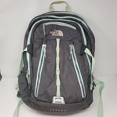 The North Face SURGE II Gray & Mint Green Backpack