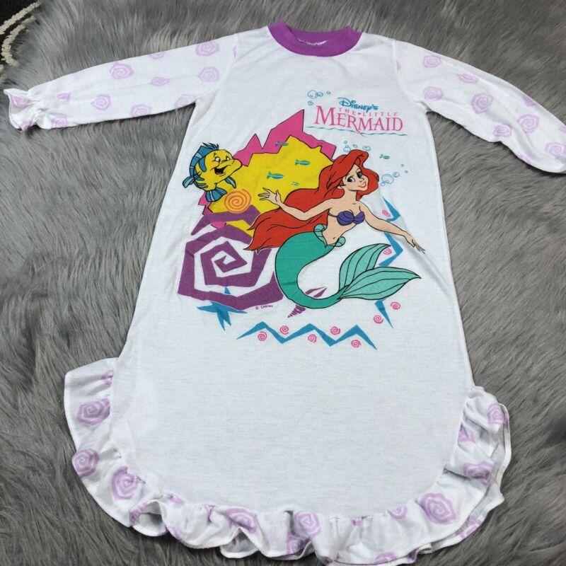 Vintage Toddler Girls White Disney Little Mermaid Nightgown 90s