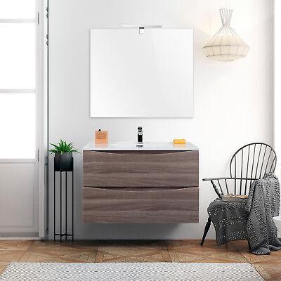 Mobile bagno piccolo sospeso 70 cm salvaspazio rovere scuro con specchio moderno