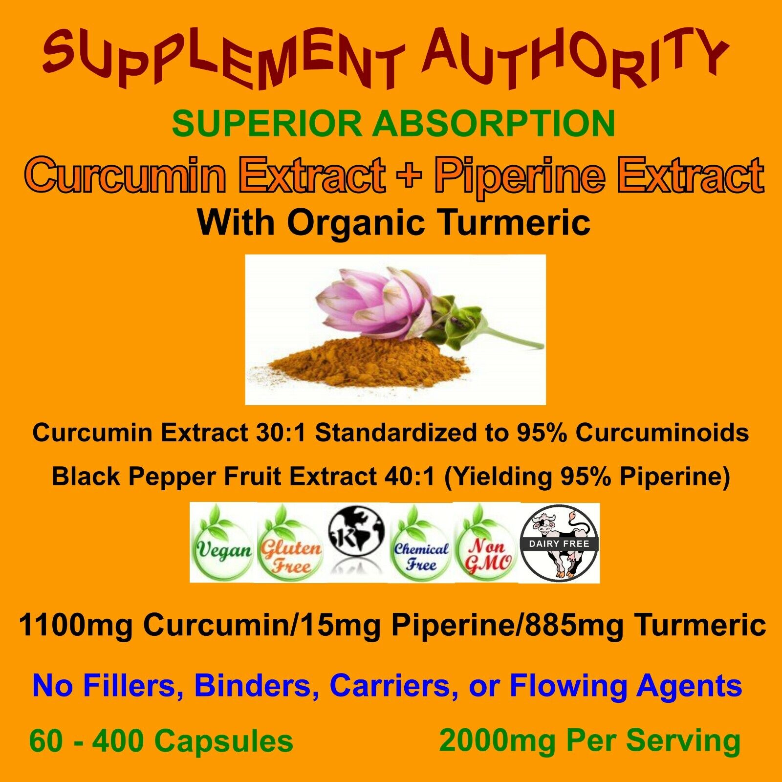Turmeric Curcumin High Potency 95% 2000mg with Piperine Black Pepper Extract NEW 1