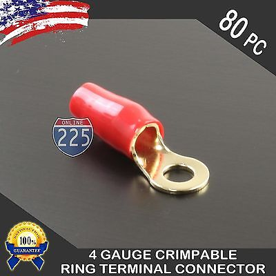 4 Gauge Gold Ring Terminal AWG Wire Crimp Cable Red Boots 5/16'' Stud Hole 80pcs Crimpable Ring Terminals