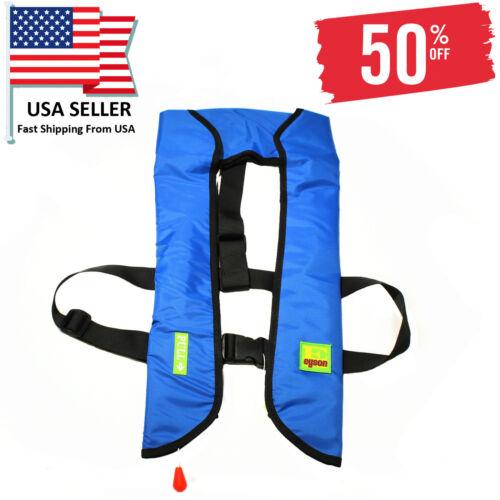 Adult Inflatable Life Jacket Automatic Manual Vest Lifesaving PFD Blue Color