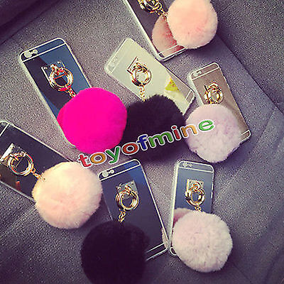 New Fur Ball Acrylic Mirror Surface Phone Case Cover For Iphone 5 5Sse 6 6S Plus