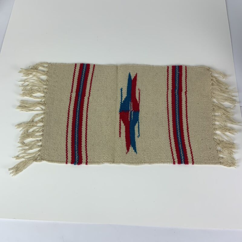 Vintage Small Native American Style Hand Woven Rug Cream W/ Teal - Red Design