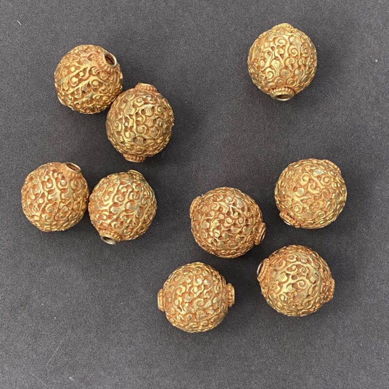 Tibetan 22kt Gold Wash Copper Metal Repousse Hand Carved Ornate Beads 20mm