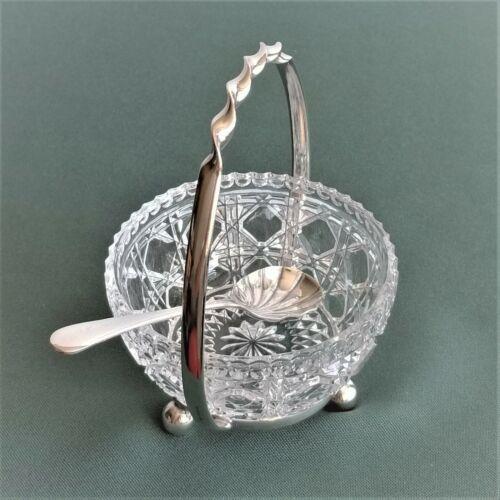 Vintage Caviar Dish Spoon & Stand Set Sheffield England EPNS Silverplate Crystal