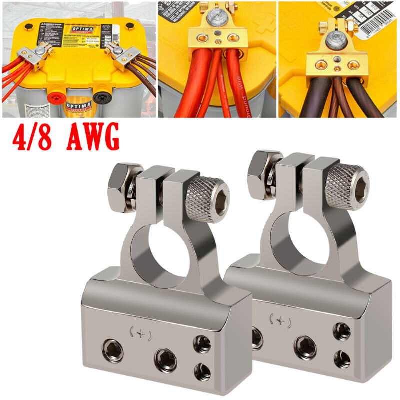2X Car Battery Terminal Clamp Post 4 8 GA AWG Gauge Positive Negative Port