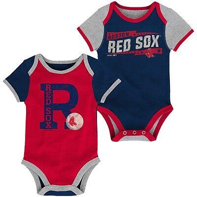 Boston Red Sox BASEBALL STAR Baby Infant 2-Pack Romper Creeper Bodysuit Set