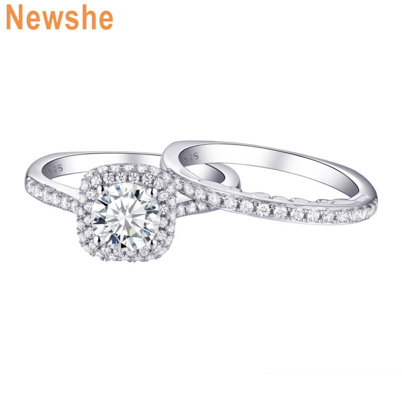 Newshe Wedding Rings Engagement Set 1.6ct Round Aaaa Cz 925 Sterling Silver 5-12