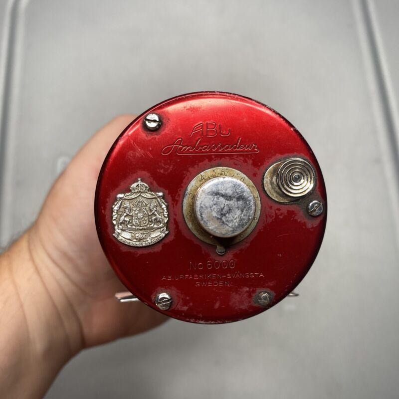 Vintage Abu Garcia Ambassadeur 6000 Reel, Classic Red Baitcaster Sweden