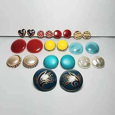 Lot of 11 Pairs Unmarked Clip On Earrings Round Plastic Wood Cloisonne Heart