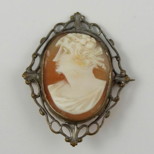 Beautiful Vintage Silver Plated Left-Facing Cameo Brooch / Pin *W1E1