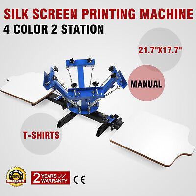 4 Color 2 Station Silk Screen Printing Kit Press Equipment Pressing Diy Machine
