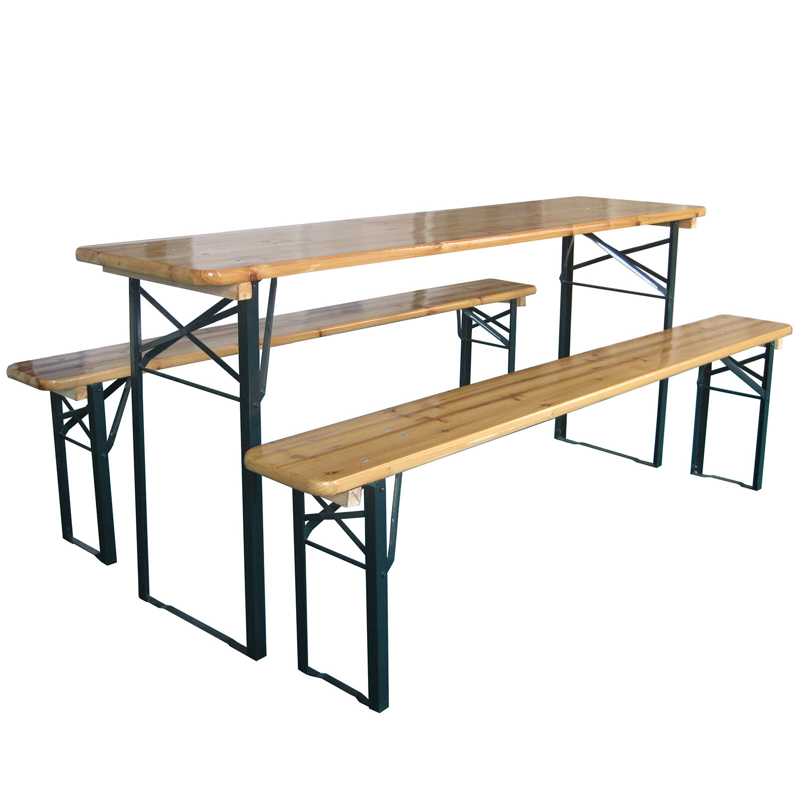 Garden Furniture - Outdoor Wooden Folding Beer Table Bench Garden Furniture Set Steel Trestle Legs