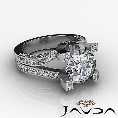 Trellis Style Split Shank Round Cut Diamond Engagement Pave Ring GIA I VS2 2.5Ct 2