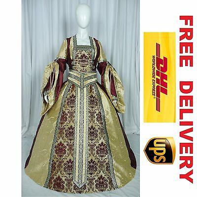 MEDIEVAL RENAISSANCE TUDOR WEDDING HANDFASTING LARP GOWN DRESS COSTUME (20A)