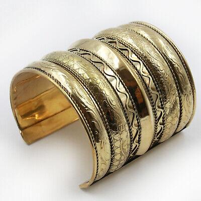 Armreif Messing Reif 8 cm breit Bollywood Spange Cuff Goa Hippie Larp gold