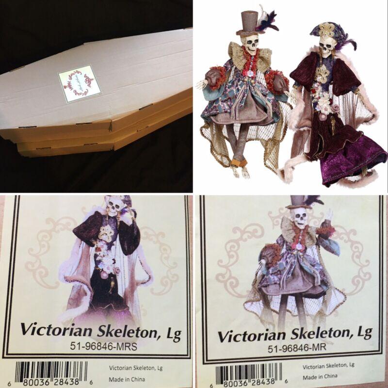 "Mark Roberts Victorian Skeleton Couple Mr Mrs LARGE 30"" Halloween Limited Ed NEW"