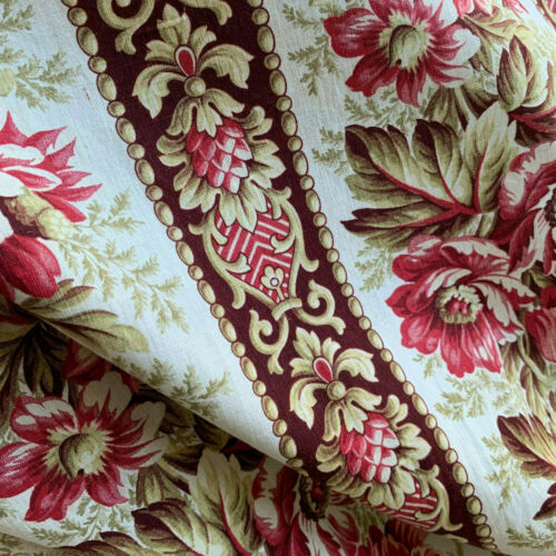 Antique French Fabric 1860 Floral & Stripe Cotton 45X34in Selvages Intact