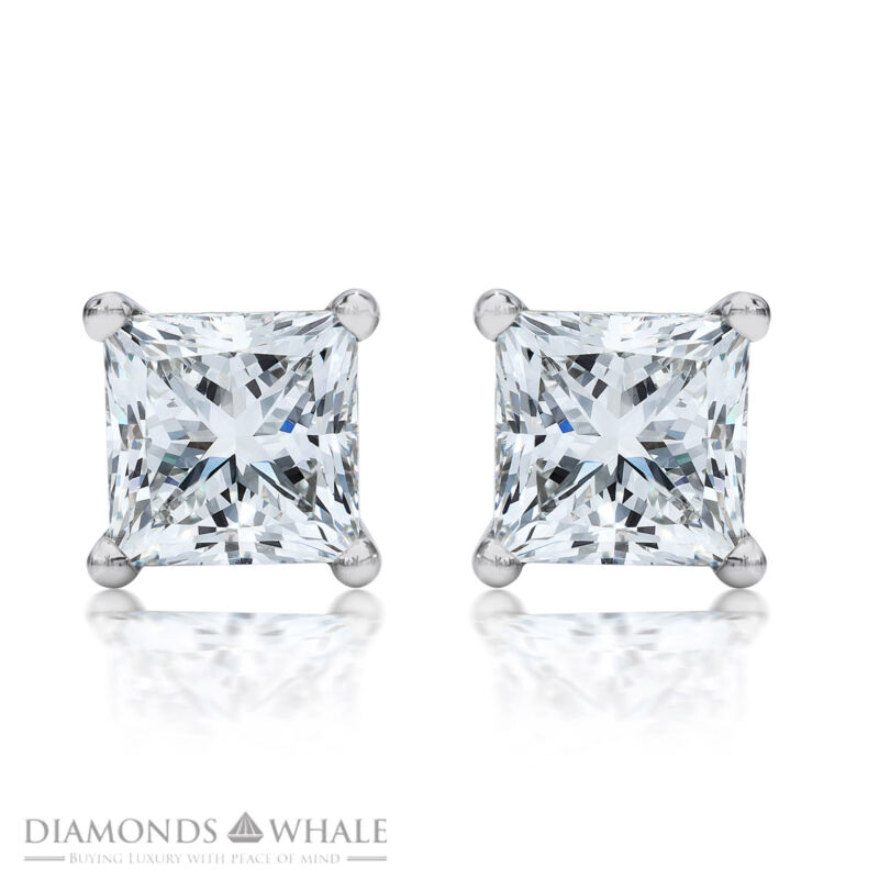 Stud Enhanced Princess Diamond Earrings 1 Ct Si1/g 18k White Gold Engagement