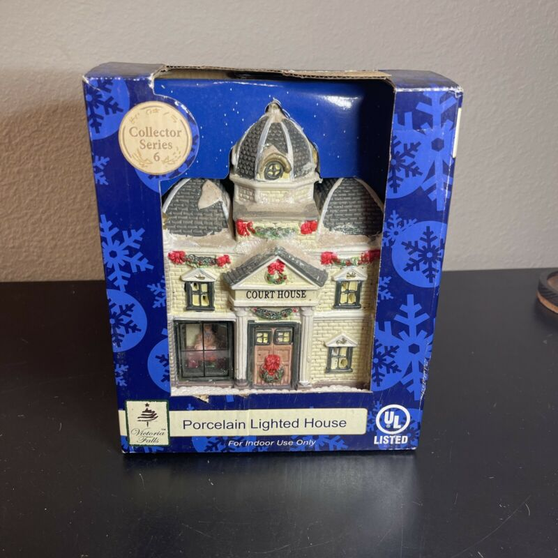 Victoria Falls Court House Porcelain Lighted Series 6 Christmas Village NEW!