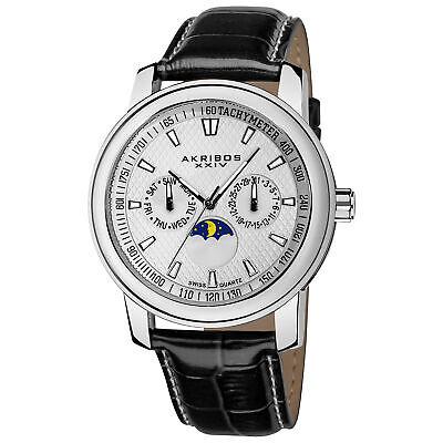 New Men's Akribos XXIV AK573SS Swiss Quartz Moon Phase Multifunction Strap Watch