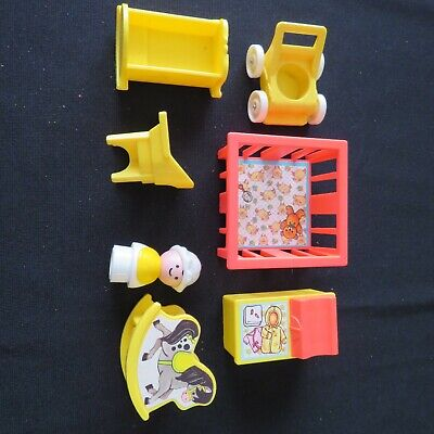 Fisher Price Little People 7pc Nursery Set A Baby Scale Doll Play House Vintage