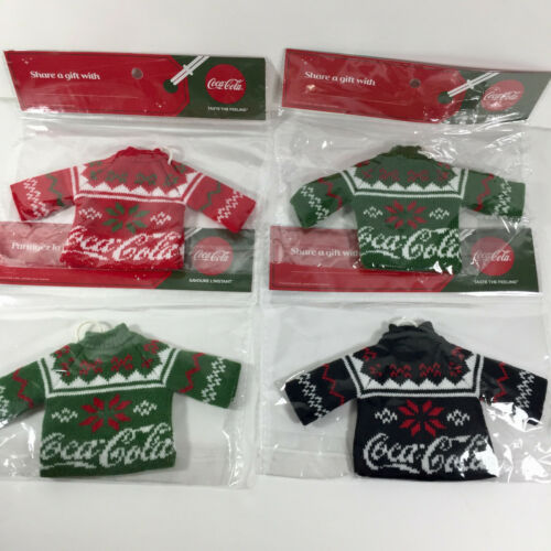 Coca Cola Ugly Sweater - Christmas Tree Ornament - Black Red Green Set of 4 Lot