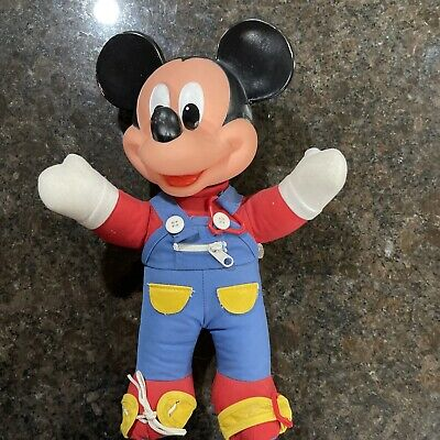 80s Dresses | Casual to Party Dresses Vintage 1980s Mickey Mouse Learn to Dress Me Doll Mattel Button Zipper Shoe Tie $17.99 AT vintagedancer.com