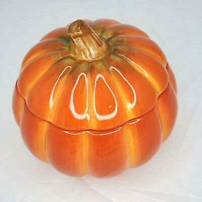 "FTD Ceramic Pumpkin Halloween Candy Bowl Cookie Jar Vase 6.5""H x 6.5""Dia Fall"