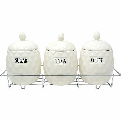 Tea Coffee Sugar Ceramic Canister Jar Bin Set with Matching Lid Kitchen Storage