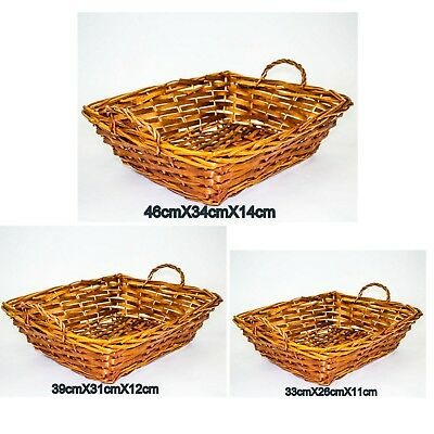 2 X Willow Basket Rectangle with Handle Cane Basket Brown Honey Colour Storage
