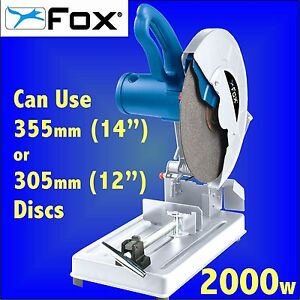 FOX F20-140A 355mm 14 Metal Cut Off Saw + Abrasive Disc chop mitre steel bar